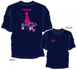 """一番だにゃTシャツ""""ネイビー:ホワイト×濃ピンク"""""""