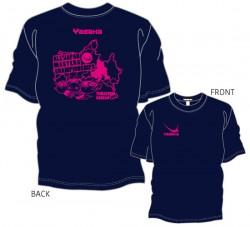 全日本卓球選手権大会〔マスターズの部〕限定Tシャツ〈ネイビー×濃ピンク〉