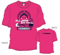 第12回全国ホープス選抜卓球大会限定Tシャツ〈ショッキングピンク:ネイビー×ホワイト〉